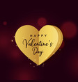 golden origami heart on dark red background for vector image vector image