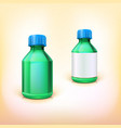 Green medical bottle with blue lid vector image vector image