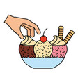 hand with ice cream on bowl vector image vector image