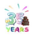 Happy birthday thirty five year vector image
