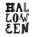 happy halloween text banner hand-drawn doodle vector image