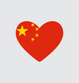 heart in colors and symbols of the china flag vector image