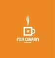 Hot coffee cup logo bean vector image vector image