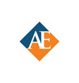 initial ae rhombus logo design vector image vector image