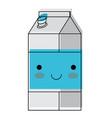 kawaii milk carton in watercolor silhouette vector image vector image