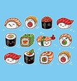 kawaii rolls and sushi manga cartoon set vector image
