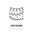 lights garlands line icon logo for event vector image vector image