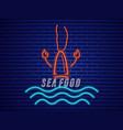 lobster neon icon fresh glowing symbol templates vector image vector image