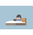 Man working on his laptop in the bed vector image vector image