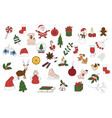 merry christmas badges patches stickers a set of vector image