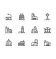modern city building icon symbols set contains vector image