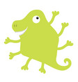 monster green silhouette one eye dinosaur nose vector image vector image