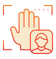 palm user recognition flat icon focus with hand vector image vector image