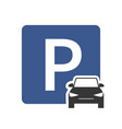 parking zone icon with car symbol top view vector image vector image