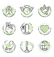 peace outline thin line icons love world freedom vector image vector image