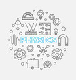 physics round education outline vector image