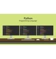 python programming language with vector image