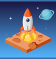 rocket launch in space isometric vector image vector image