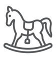rocking horse line icon baby and toy vector image vector image