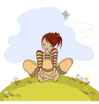 romantic girl sitting barefoot in the grass vector image vector image