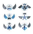 royal crowns and ancient stars emblems set vector image