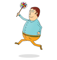 running fat man with propeller vector image vector image