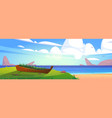 sea beach with old boat in green grass vector image vector image