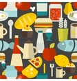 Seamless pattern with different food and drinks vector image vector image