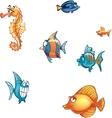set cartoon marine fish and skate vector image vector image