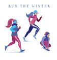 set girls women running jogging in winter vector image vector image