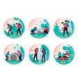 set hiking people vector image vector image
