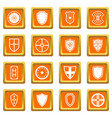 shield frames icons set orange vector image vector image