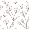 Sketchy seamless pattern with flowers and butterfl