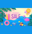 summer sale paper cut travel and vacation vector image vector image