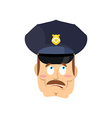 Surprised policeman Perplexed cop astonished vector image vector image