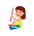 sweet little girl character sitting on the floor vector image vector image
