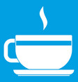 tea cup and saucer icon white vector image vector image
