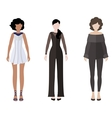 Three women flat style icon people figures vector image vector image