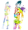 trendy look girl with color splashes vector image vector image