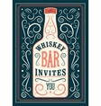 Typographic retro design Whiskey Bar poster vector image vector image
