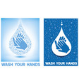 wash your hands- with many water drops vector image vector image