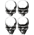 White and black human skull tattoo set vector image vector image