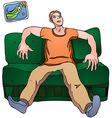 Man on sofa vector image