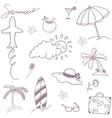 Doodle set recreation in beach vector image