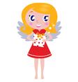 christmas cartoon angel girl with gift vector image