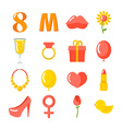 8 March set of icons Gifts for holiday Kiss and vector image vector image