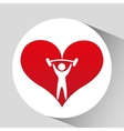 athlete silhouette lift barbell heart vector image vector image