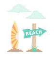 beach with wood sign vector image