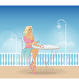 Beautiful woman in cafe vector image vector image