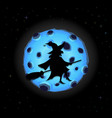 black silhouette of witch on broomstick with cat vector image